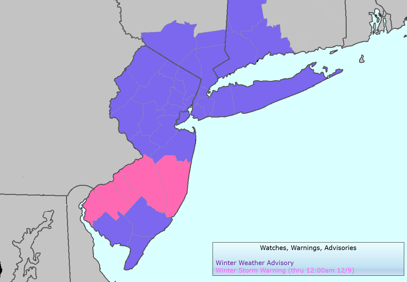 National Weather Service watches, warnings and advisories valid from Sunday Night into Monday morning