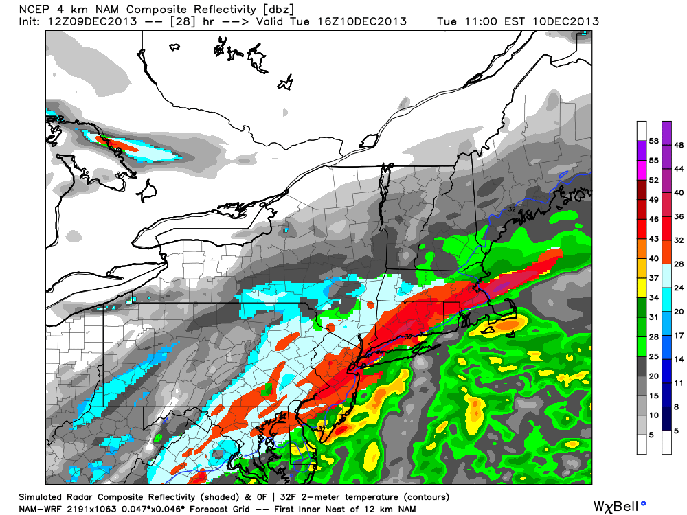 NAM model showing a band of heavy snow over the New Jersey and New York City Metro area Tuesday morning.