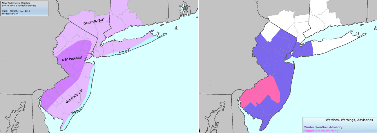 Storm total snowfall forecast (left) and NWS Watches, Warnings and Advisories (right).
