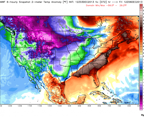 Today's 12z European mode valid for Friday morning shows an incredible temperature gradient across the nation. Image credit goes to weatherbell.com