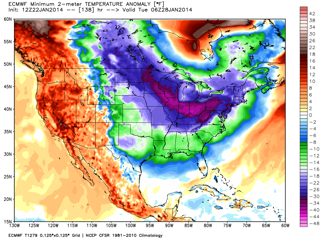 Euro model showing sustained cold air in much of the Northern United States at Day 7.