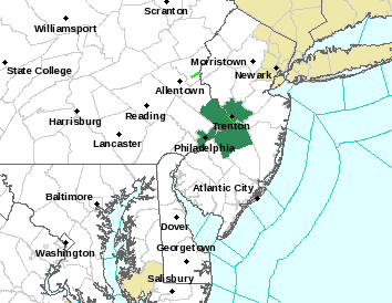 Counties included in the Flash Flood Warning are shaded in dark green.