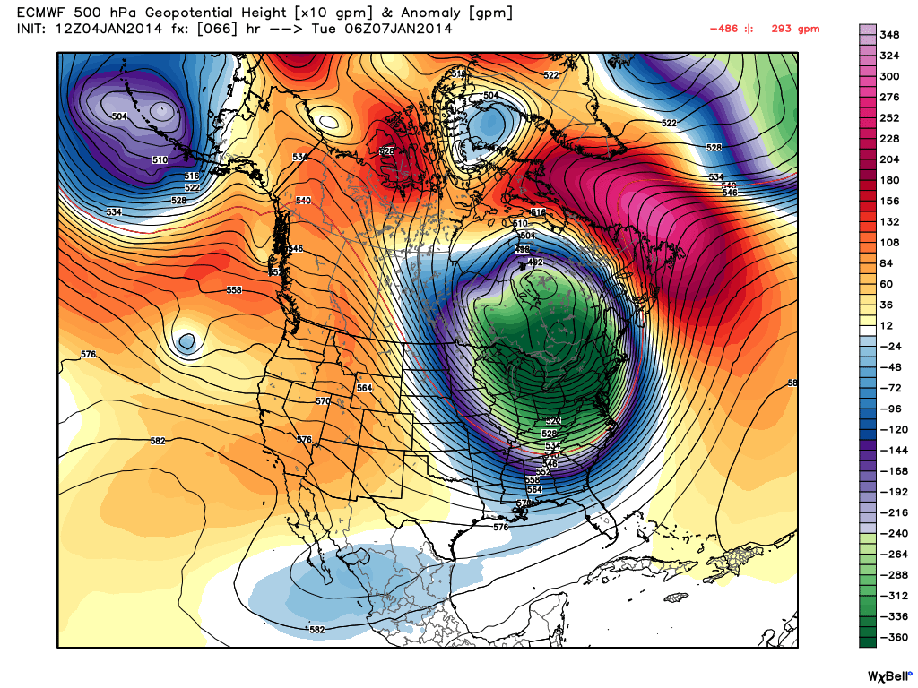 ECMWF model showing the polar vortex and associated height anomalies at 500mb across the Central/Eastern US this week.