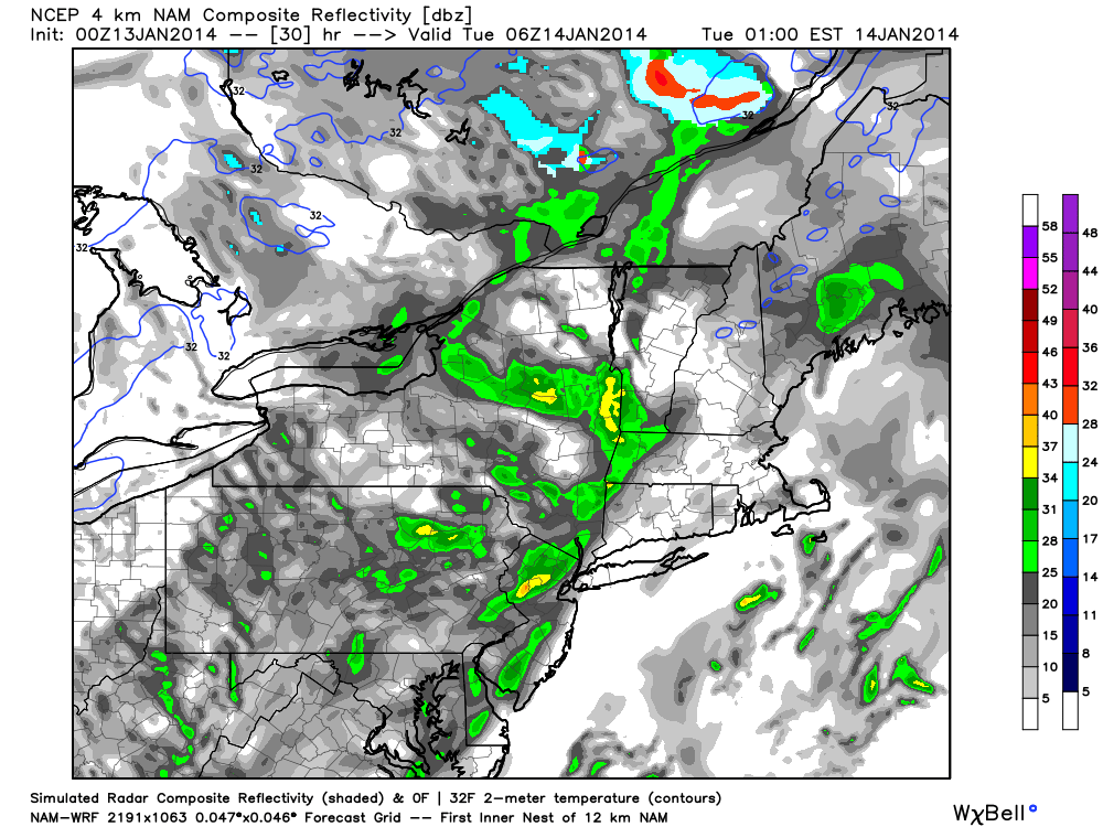 NAM model showing the development of widespread showers and clouds throughout the area late Monday Night into Tuesday.