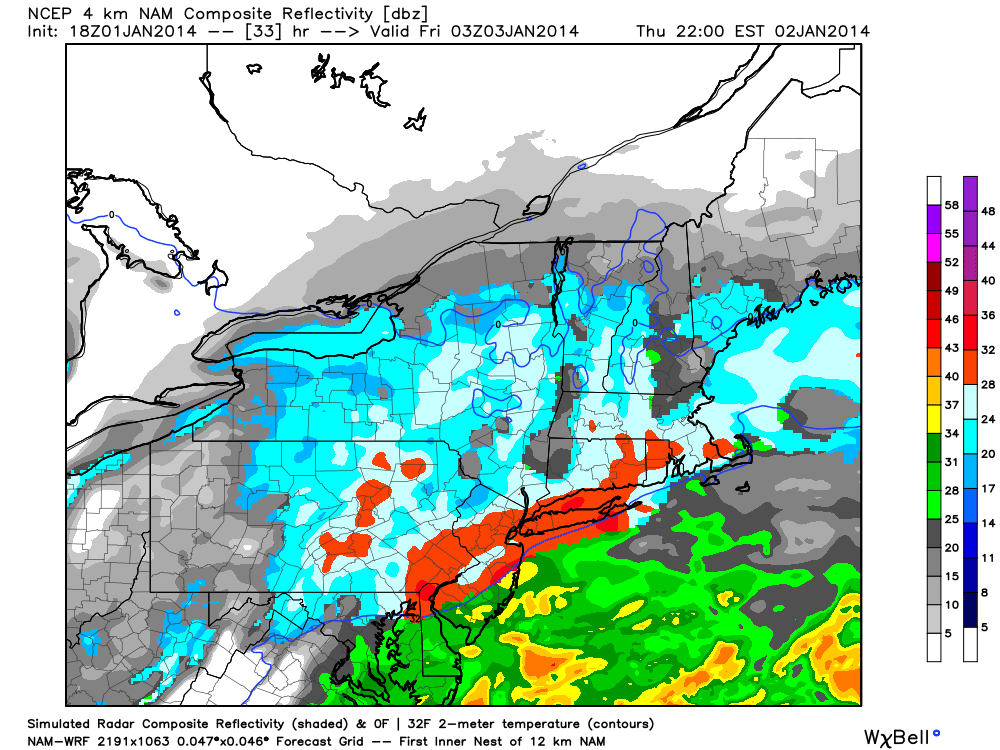 NAM model showing heavy snow throughout the area on Thursday night into Friday morning.