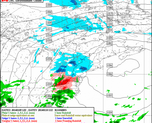 Today's RGEM model valid for 6am tomorrow morning shows some light snow passing just to the north of NYC.