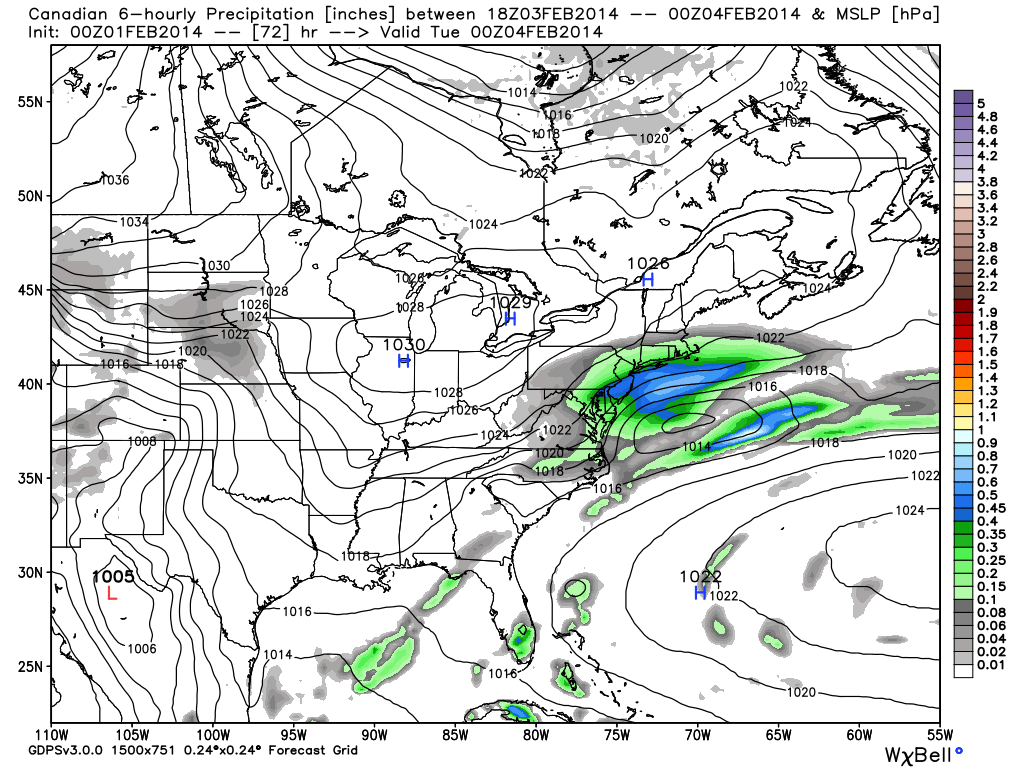CMC (Canadian) model forecasting snow throughout the area on Monday, with the heaviest snow south of NYC.