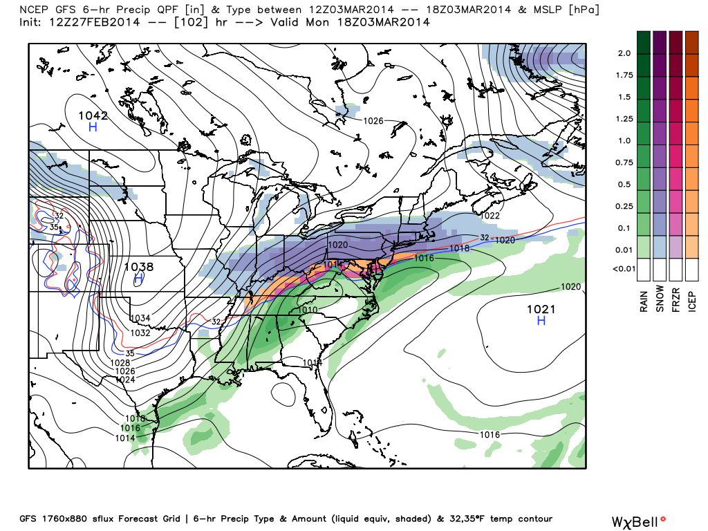 GFS model showing a large-scale winter weather event impacting the Eastern United States early next week.