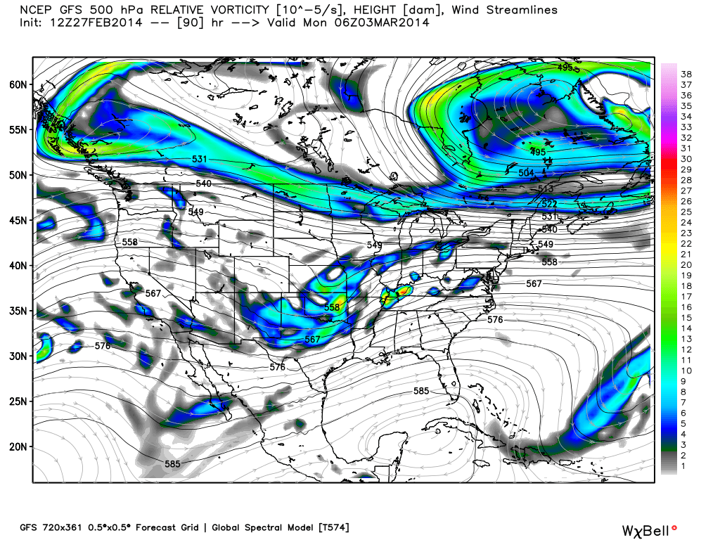 GFS model showing two major features in the development of the storm system -- the pacific energy to our southwest, and piece of the polar vortex to our north.