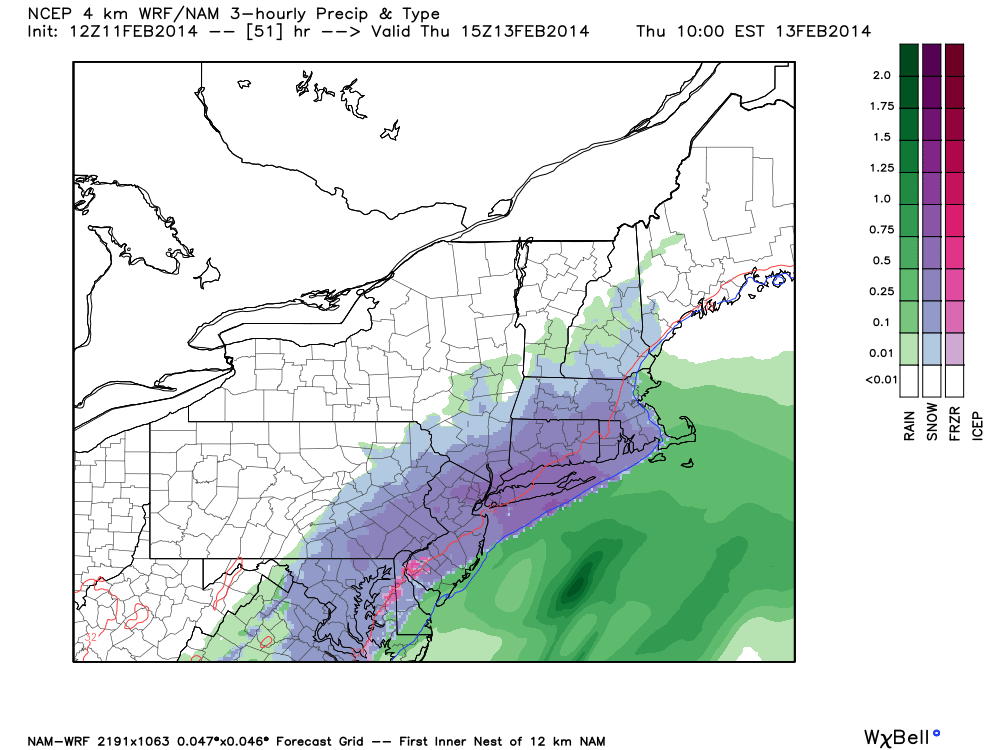 NAM model showing a significant coastal storm impacting the area on Thursday with heavy snow in much of NJ, NY and CT.