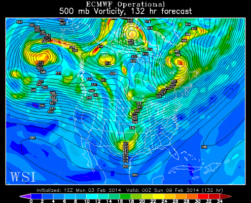 Today's European Model valid for Saturday evening shows a classic setup for a major snowstorm on Sunday into Monday.