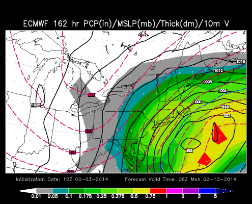 Today's European Model valid for early Monday morning shows the entire area getting hit with blizzard-like conditions.