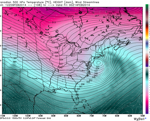 Today's 12z Canadian Model shows a powerful closed off 500mb low just off the coast, also indicative of heavy snow. Image credit goes to weatherbell.com
