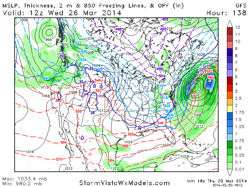 GFS model showing a significant coastal storm staying east of the area early next week.