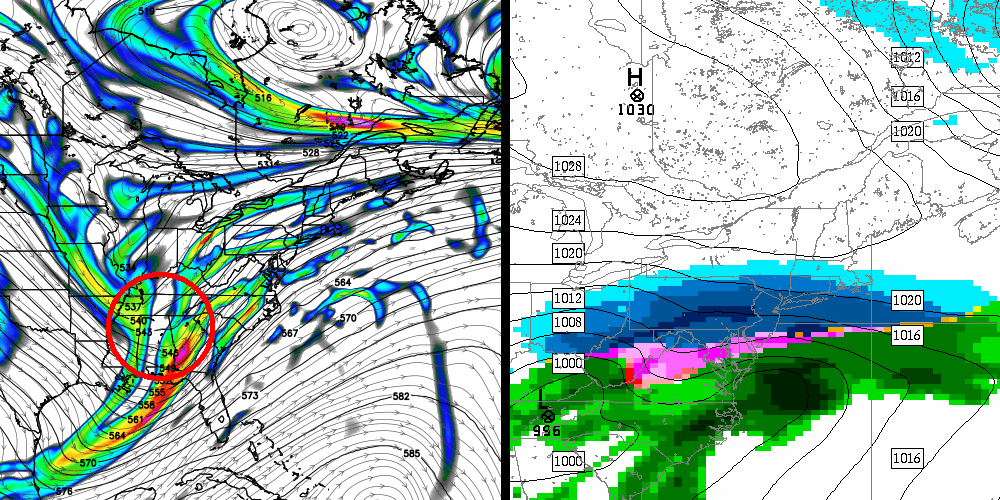 Canadian model valid for early next week. Notice the consolidated energy aloft and resulting winter storm.