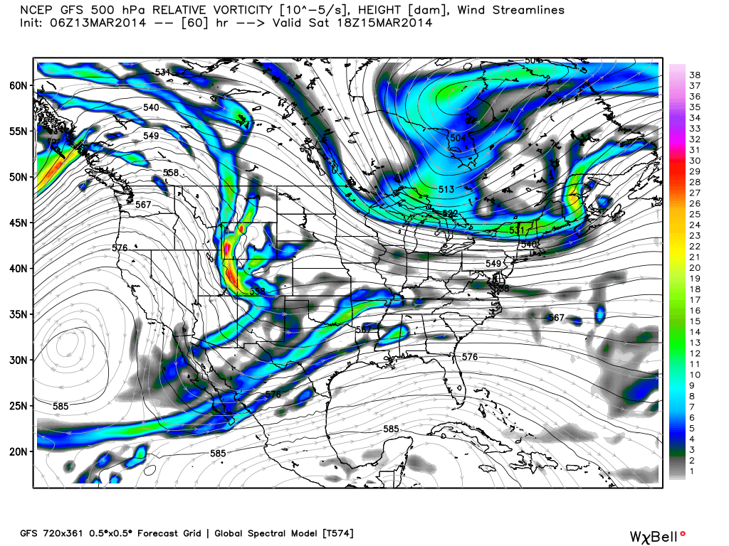 GFS model showing the important piece of energy entering the Western US and Rockies.