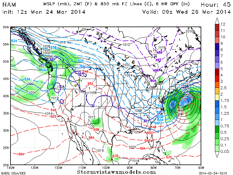 NAM model showing a major storm system developing offshore, barely grazing the coast.