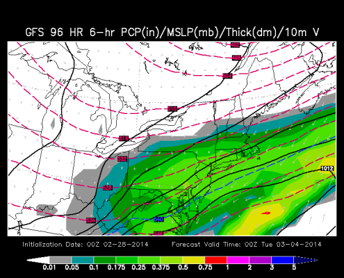The 00z Friday GFS Model run also showed heavy snow for the entire region. Image credit goes to the WSI Model Lab.