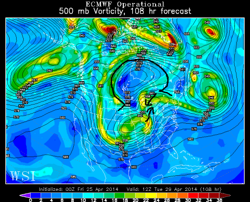 """Later on Monday night into Tuesday morning, the Omega block forces leftover energy from the disturbance to the east to """"phase"""" with the large storm system in the Plains, allowing it to strengthen and move northward a bit. This will allow moisture to hit our area once Tuesday comes around (WSI Model Lab)."""