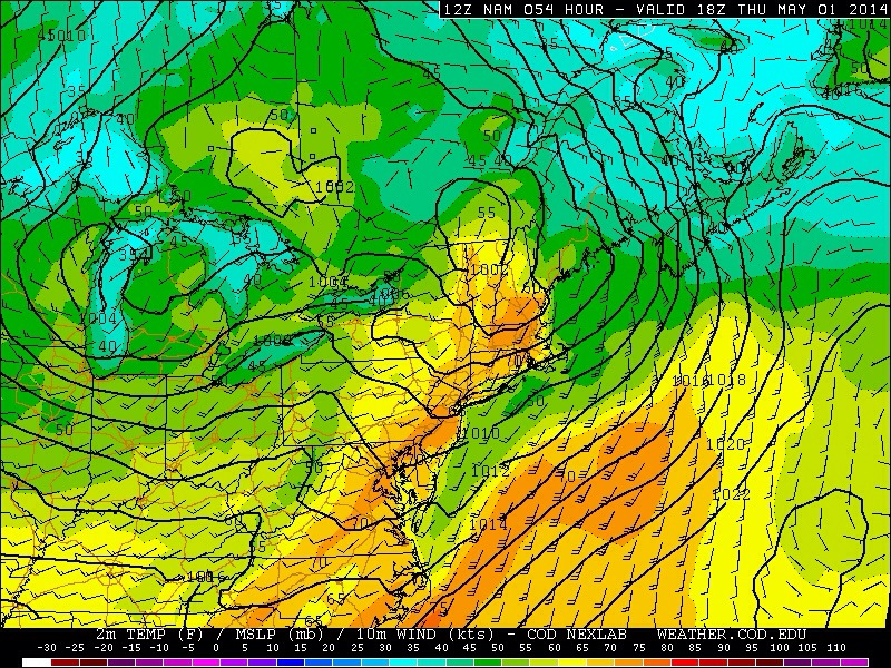 Forecast models showing temperatures in the 70's on Thursday.