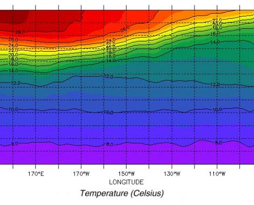An image illustrating a typical thermocline -- or gradient where the warmer surface waters are separated from the much colder waters at larger depths. The thermocline is much closer to the surface in the Eastern Pacific, which is one reason why Ocean temperatures are often colder in this region (Ocean World).