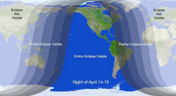 NASA graphic showing where the eclipse will be visible on April 14-15.