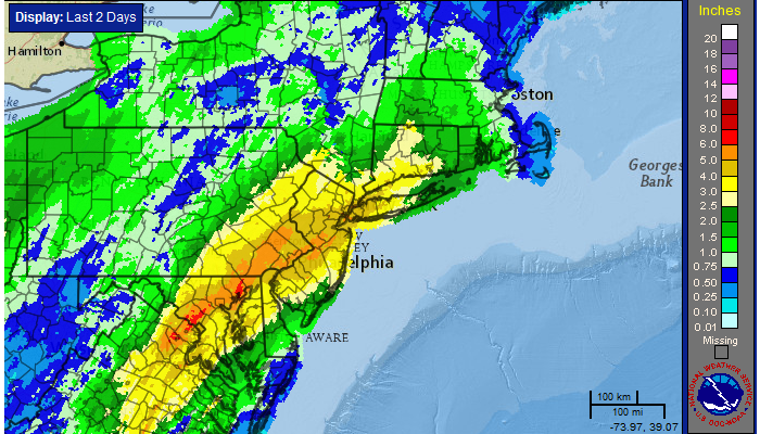 24 Hour radar estimated rainfall totals, courtesy of the National Weather Service.
