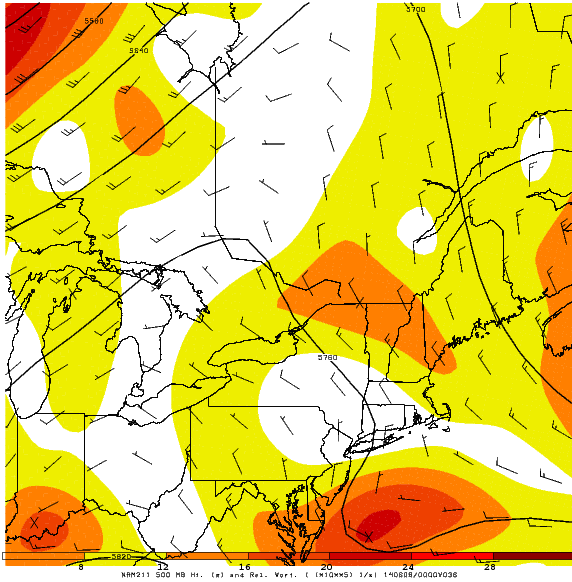 Today's 12z NAM at 500mb valid for tomorrow evening shows a large ridge building into the region. This will lead to a beautiful Saturday and Sunday. Image produced via GEMPAK computer program.