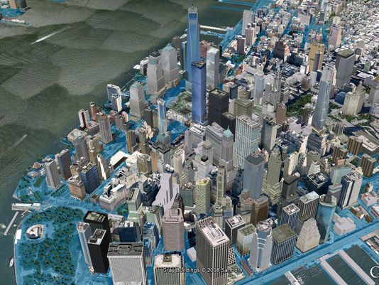 SwissRe simulation of flooding in Lower Manhattan from a storm similar to the 1821 Hurricane. Hurricane Sandy flooded this area in a similar, but less extensive fashion.