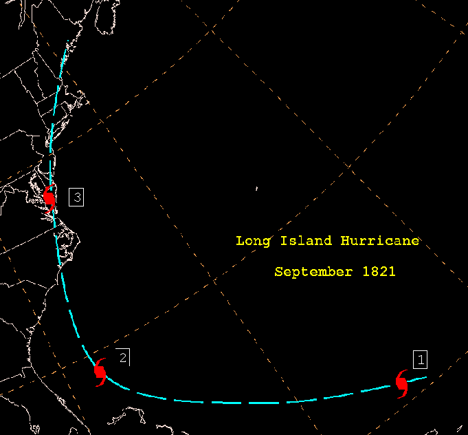 Estimated track of the 1821 Hurricane based on observations and reprots.