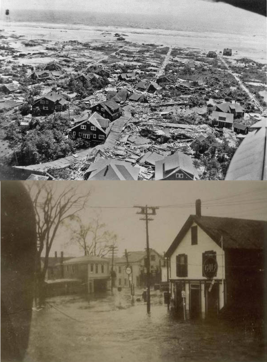 Damage in Saltaire, NY (top) and Mystic, CT (bottom) from the hurricane.