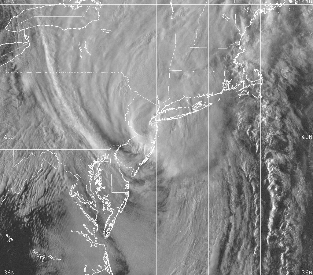 Visible satellite imagery of Tropical Storm Floyd passing over NJ and NYC 15 years ago.