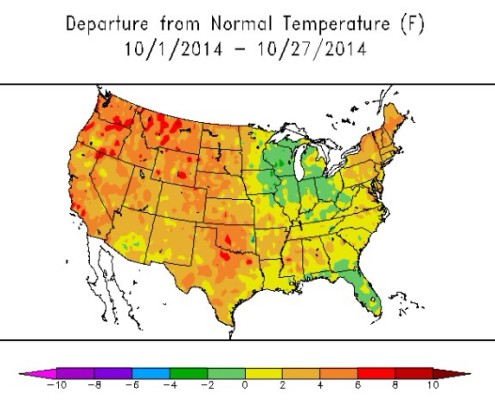 It has been much warmer than average for most of the country this month (ACIS).