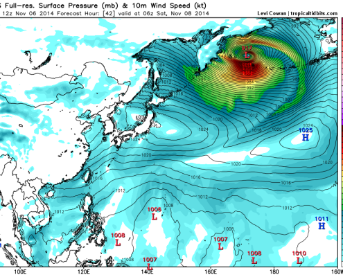 Today's high-resolution GFS model valid for Saturday morning shows former Typhoon Nuri dropping to 917mb, as it passes just west of the Aleutian Islands. Image is courtesy of weatherbell.com