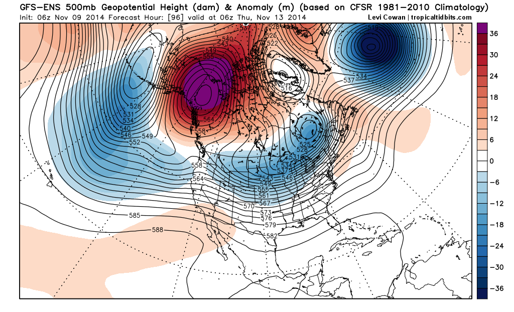 GEFS mean height anomalies at 500mb for the middle of this upcoming week. Notice the highly anomalous ridge in Western Canada.