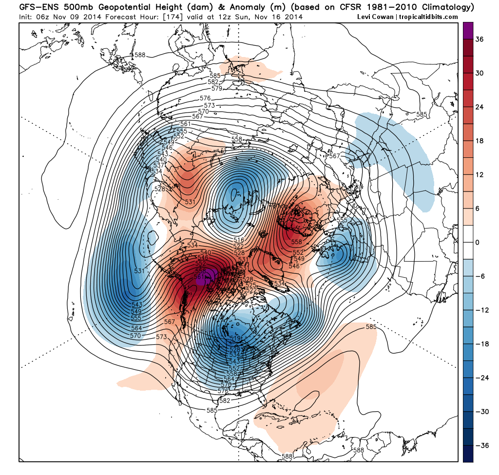GEFS height anomalies at 500mb showing high latitude ridging and much below normal heights over the USA.