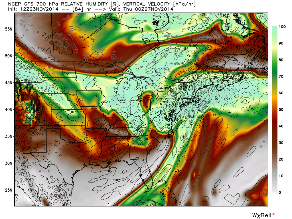 GFS model showing the 700mb relative humidity and vertical velocity (dashed lines). This is a classic depiction for a snowstorm from a Nor'Easter in our area.