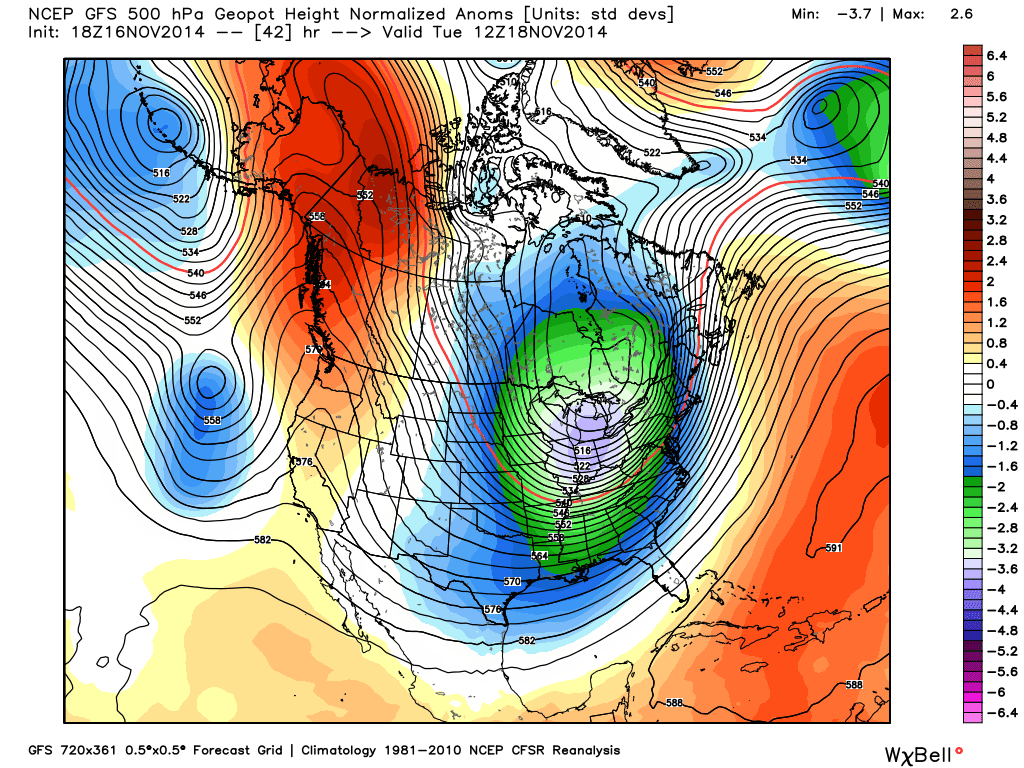 GFS model's height anomalies at 500mb this week. A large ridge on the West Coast has displaced lower than normal heights over the Eastern US.
