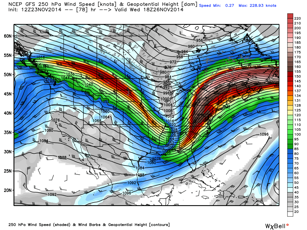 The GFS showing a very favorable 250mb jet streak position for the strengthening of a low pressure system close to the East Coast next week.