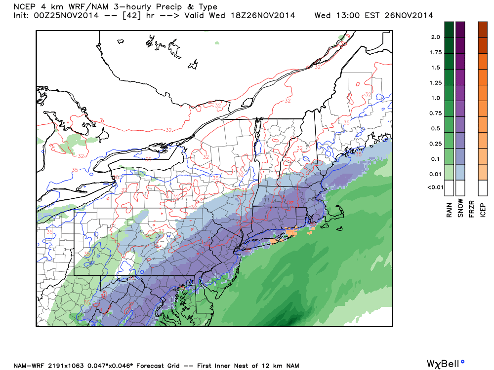 NAM model showing snow overspreading the region on Wednesday afternoon.