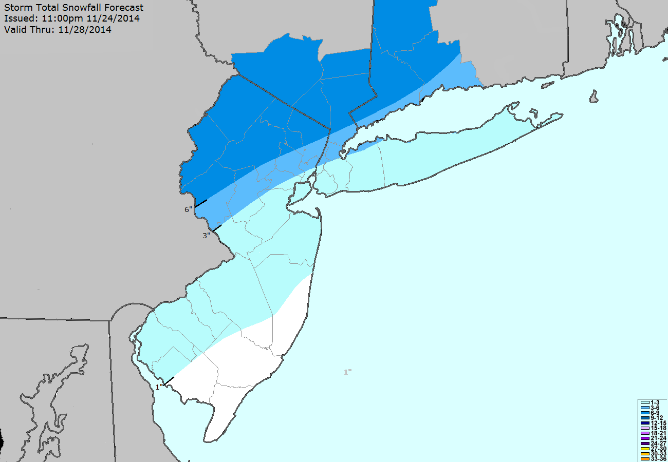 Storm Total Snowfall Forecast issued by our meteorologists at 11:00pm on November 24th, 2014. The forecast is a rough estimate as to where snowfall will accumulate in the upcoming storm.