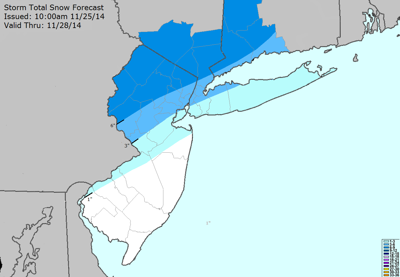 Storm Total Snowfall Forecast issued by our meteorologists on November 25th, 2014