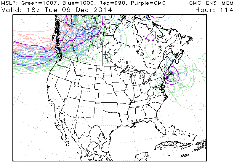 Canadian model ensembles showing many different storm tracks and locations for the storm system on Tuesday morning.