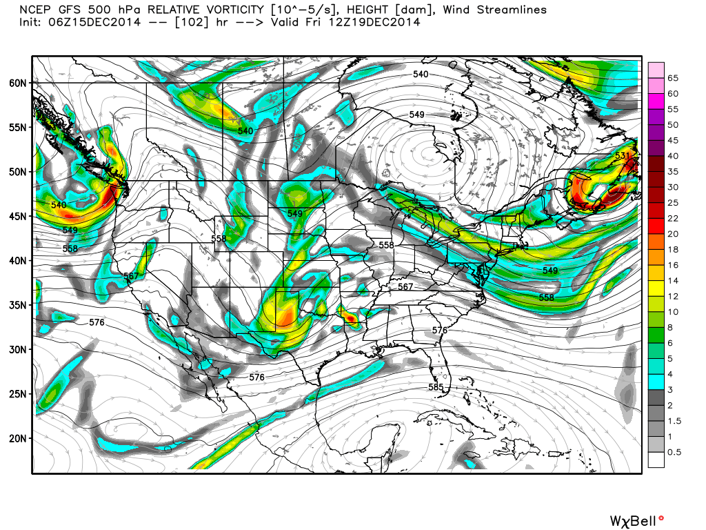 GFS model showing the potential for a storm system late this week into this weekend. Map shows 500mb heights and vorticity.