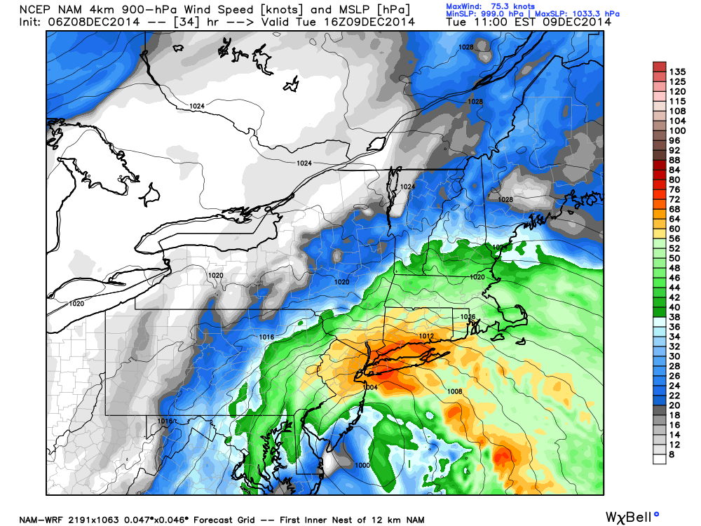 NAM showing strong winds at 900mb passing over the area at 18z Tuesday.