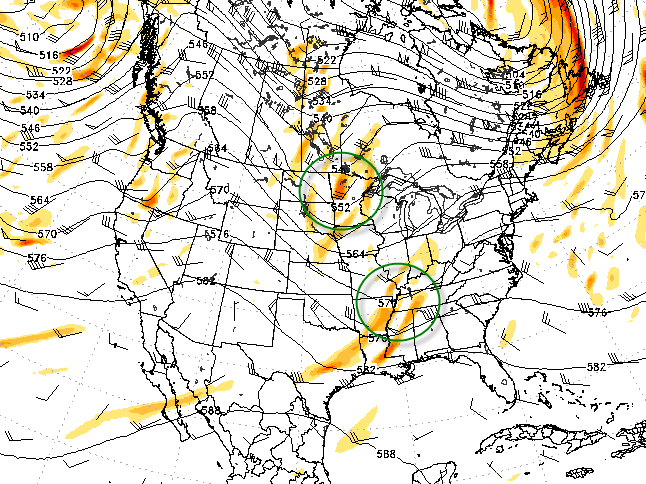 Forecast models show two distinct disturbances over the Central US this weekend which will phase early next week.