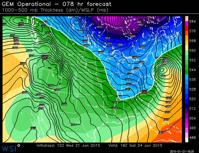 Canadian model showing a significant low pressure system off the coast of New Jersey on Saturday.
