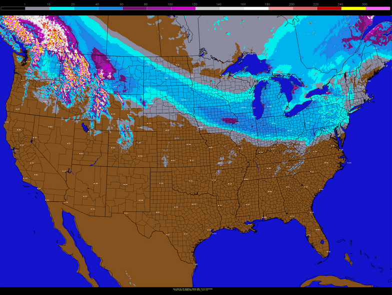 """Today's NAM model's snowfall forecast for the clipper. Notice how snow amounts are a bit less as you head east, but still could be in the coating to 2"""" range. (PSU E-Wall)"""