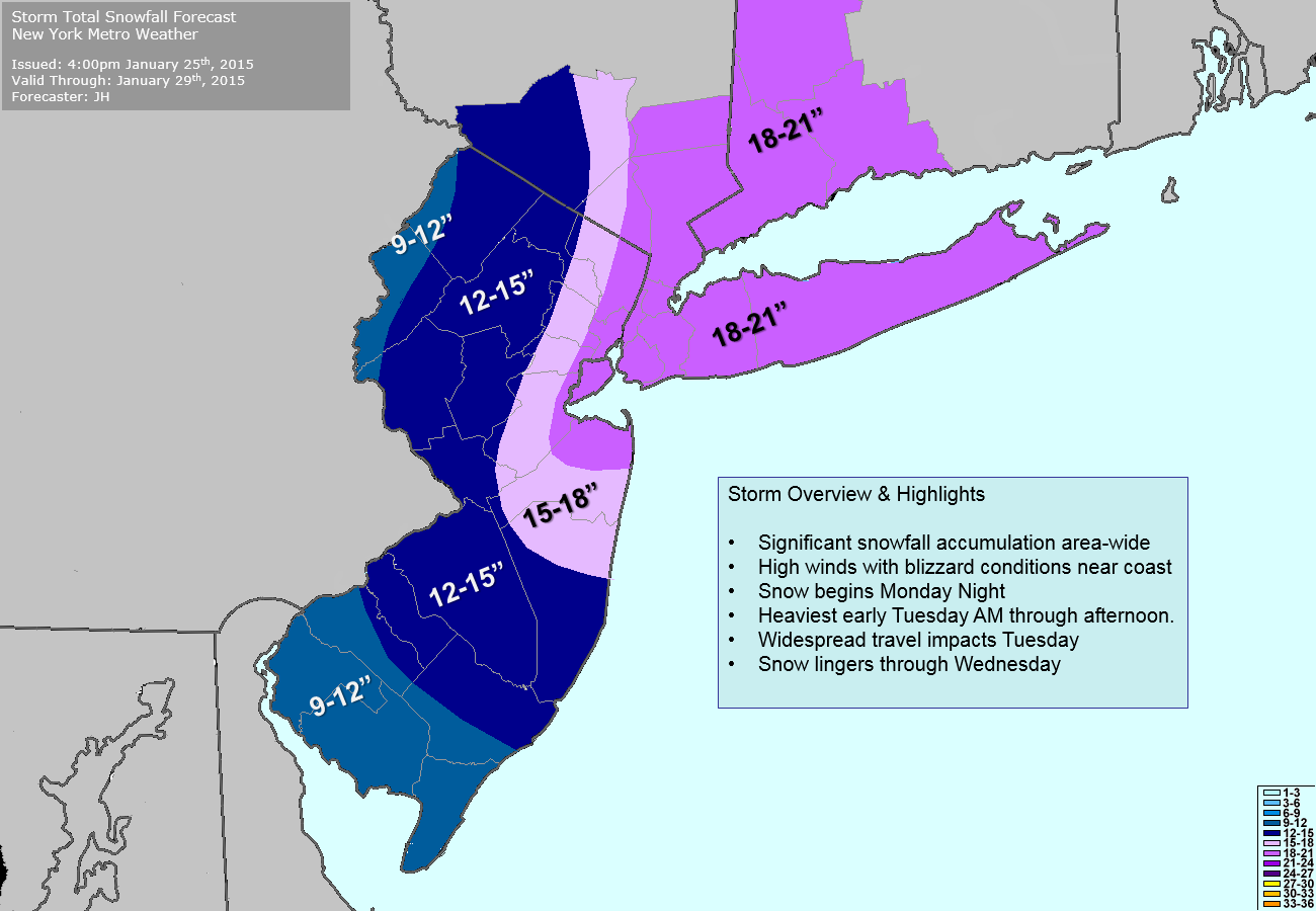 Our latest snow forecast for Monday Night into Wednesday morning.
