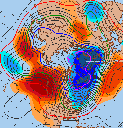 GFS ensemble mean showing positive height anomalies with a ridge on the west coast into the Northern Pacific.